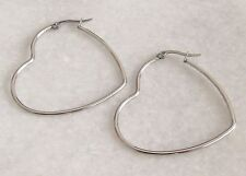 316L Surgical Stainless Steel Large Heart Hoop Earrings 40mm