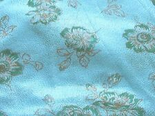Unique blue with green floral netting odd texture vintage fabric design material