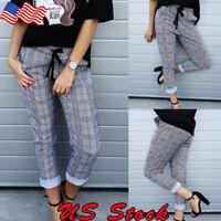 Women Plaid Check Casual Pants Skinny Slim High Waist Stretch Ladies Trousers