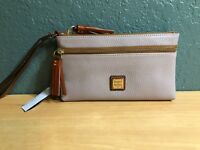 NWT  118 Dooney   Bourke Leather Double zip Wristlet Clutch Wallet Oyster  NEW 7874a4478c5d1