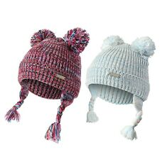 Heat Machine Girls Kids Warm Winter Knitted Thermal Ear Flaps Double Bobble Hat