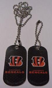 2 NFL Cincinnati Bengals Logo Dog Tags Keychain & Necklace party Gift Souvenir