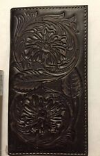 NWT ARIAT Rodeo Wallet I Checkbook Tooled Floral Brown A3524602 Leather Slim Fit