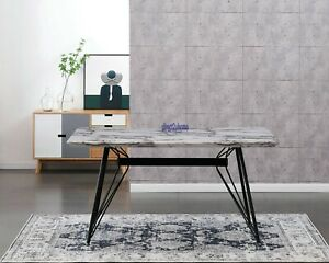 AINPECCA 1x Dining Table 150x90cm Faux M Grey Top Metal Legs For Home Office