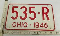 Vintage Ohio 1946  License Plate  # 535-R Smaller Than Normal Size
