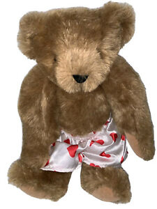 """The Vermont Teddy Bear 16"""" Classic Jointed Bear Red Heart Boxers Valentines"""
