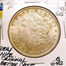 1890-P MORGAN SILVER DOLLAR, GEM BU/MS, NICE+ ORIGINAL, SHARP, BETTER DATE B642