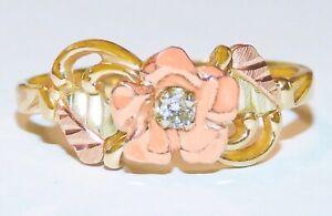 Black Hills Gold 10k Diamond and Rose Ring Size 7