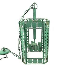 Maxim Lighting Art Deco Arts & Crafts Style Hanging Light Fixture Mottled Green
