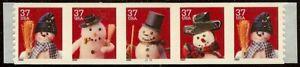 "3680-3683a Scarce PNC5 #G1111 Linerless ""Christmas Snowmen"" Mint NH Cat $30"