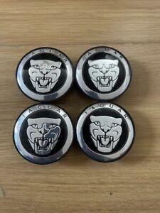 4x Jaguar Wheel Centre Caps Hub Alloy Cap Fits XJ, XJR, XK, XF, S Type-Black