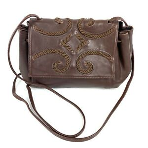 Saks Fifth Avenue Vintage Crossbody Bag Brown Leather Embroidered Purse Italy