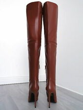 1969 ITALY Designer Vintage OVER KNEE THIGH HIGH HEELS OTK B168 LEATHER BOOTS 44