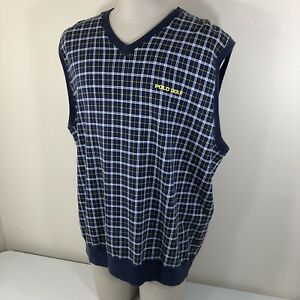 Vintage Polo Ralph Lauren GOLF Spell Out Vest Checks Men's XL Sweatshirt Plaid