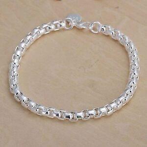 Silver Plated Rounded Links Bracelet 925 Sterling Bangle Anklet 8 inches or 20cm