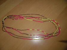 Halskette Damen mehrfarbig gelb pink bronze Kunststoff 62cm lang Form Rund NEU