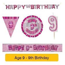 Pancartas y guirnaldas de fiesta color principal rosa cumpleaños infantil