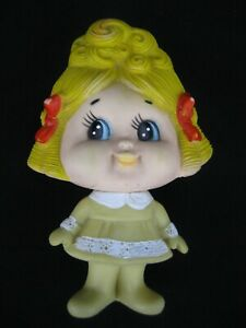 Vintage Ninohira Japan Rubber Squeaky Toy Girl w/ Blonde Hair
