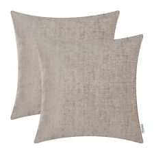 2Pcs Light Taupe Cushion Covers Pillow Shells Case Solid Dyed Soft Chenille 45cm
