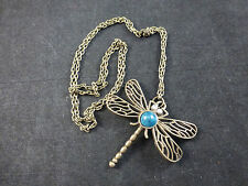 Stunning Large Old Gold Toned Dragonfly Sweater Necklace on 60cm Long Chain