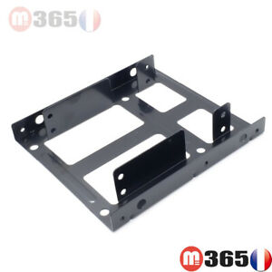 """caddy Support rack adaptateur 2* disque dur 2.5"""" to 3.5""""  SSD HDD 2.5"""" vers 3.5"""""""