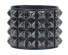 Black Pyramid Four Stud Leather Snap Bracelet Punk Gothic Glam Rockabilly Emo