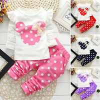 2PCS Minnie Mouse Toddler Baby Girls Tops T Shirt+Pants Polka Dot Clothes Outfit