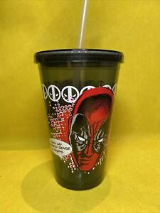 """DEADPOOL """"MERC WITH A MOUTH"""" Travel Cold Cup 16 oz Straw Double Walled X-Men"""