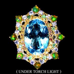 Handmade Real 21ct Swiss Blue Topaz Fire Opal Sapphire 925 Silver Big Ring Sz 10
