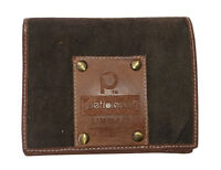Petroleum Canvas & Leather Folding Wallet - Brown