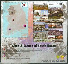 SIERRA LEONE  2014 SITE & SCENES OF SOUTH KOREA  SHEET II  MINT NH