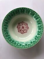 Antique Vintage Raised Relief Red Green Unmarked MajolicaType Bowl Dish