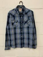 Vintage LEVI'S Long Sleeve Shirt Plaid Check Cotton Strauss Size M Medium Blue