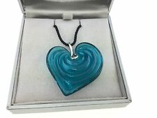 Daum Elixir Heart Sterling Silver Pendant Blue Lagoon Item02662-3