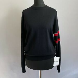 €1250 NWT BALENCIAGA Black Cashmere Wool Knit Jumper Sweater 36 XS Made In Italy