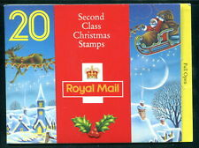 LX3 1993 20 x 18p Christmas Barcode GB Booklet. Pane: 1634a. Reindeer, Santa
