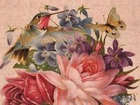 """Fabric Hummingbirds Bouquet 4 Squares 8""""x8"""" Panel 8""""x42"""" Cream Cotton Elizabeth"""