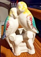 "Vintage Parakeet Lovebirds Ceramic Planter 5.5"" Tall Nice Color  Morton Pottery?"
