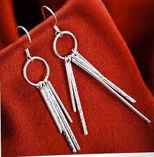 Silver Plated Long Tassel Drop Dangle Earrings