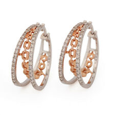 Hoop Earrings Diamond Stud Solid Pave 14K Rose & White Gold Thanksgiving Jewelry