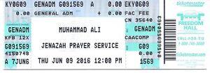 Muhammad Ali  Jenazah Prayer Service ticket June  9 2016