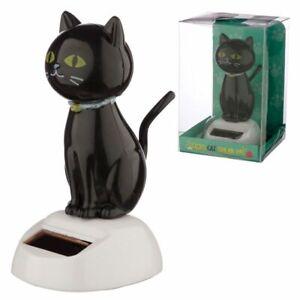 Lucky Black Cat Solar Powered Dancing Figure - Car Dashboard Window Sill Toy