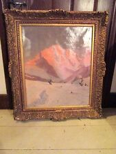 Gold Framed German Alpine Oil Painting by Tony Haller, aka Hans Strebik.