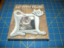 """New In Box Cat Photo Frame Polyresin Silver 6X6 21/4"""" By 2 1/4"""" Photo"""