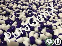 EMPTY GELATIN COLOR CAPSULES - PURPLE/WHITE - SIZE 00 & 0 - (KOSHER) US QUALITY
