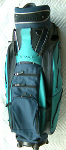 MIZUNO TAVA Navy Blue & Turquoise 6 Club Slots Sport Golf Bag w/ Rain Cover VG