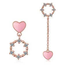 Ladies 925 Sterling Silver Austrian Crystal Sweet Pink Heart Stud Drop Earrings