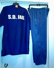 Men San Diego Jail Issued Outfit Blue XL Pants Shirt Flops