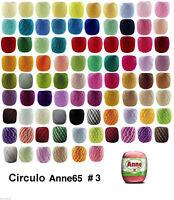 Anne 65 Uncinetto Morbido Cotone Filati per Maglieria Filo Solido Misti #3 65m