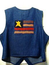 Folk Art American Flag Patriotic Denim Vest Large NWT